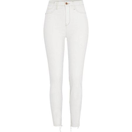 White Harper raw hem super skinny jeans - Skinny Jeans - Jeans - women