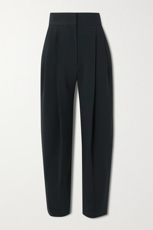 Pintucked Crepe Wide-leg Pants - Navy