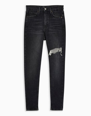 Topshop Jamie thigh rip skinny jeans in washed black | ASOS