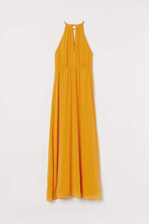 Creped Long Dress - Yellow