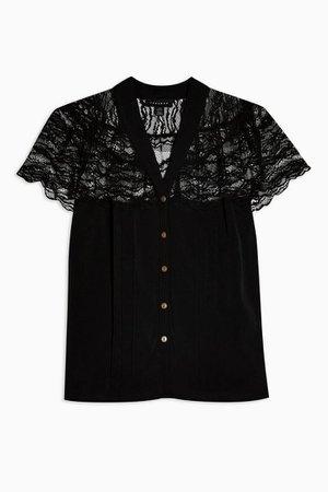 IDOL Black Lace Blouse | Topshop