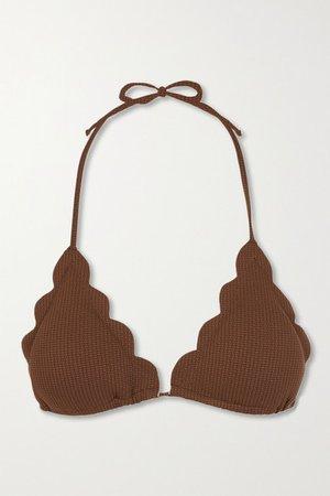Broadway Scalloped Stretch-crepe Triangle Bikini Top - Brown