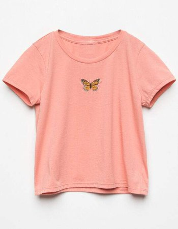 WHITE FAWN Embroidered Butterfly Girls Tee - PEACH - 370404706 | Tillys
