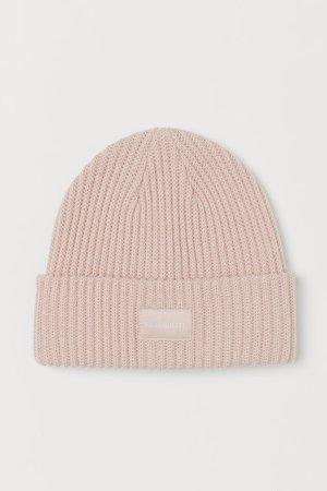 Rib-knit Hat - Pink