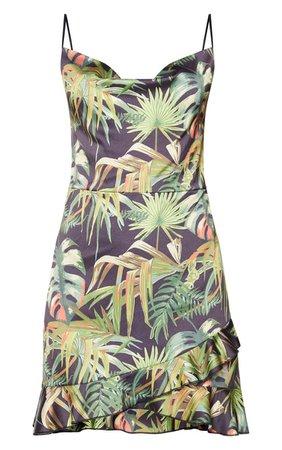 Black Tropical Print Hammered Satin Frill Hem Detail Strappy Bodycon Dress | PrettyLittleThing USA