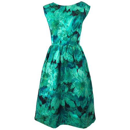 1950s Demi Couture Green Botanical Floral Silk Fit n' Flare Vintage 50s Dress For Sale at 1stDibs