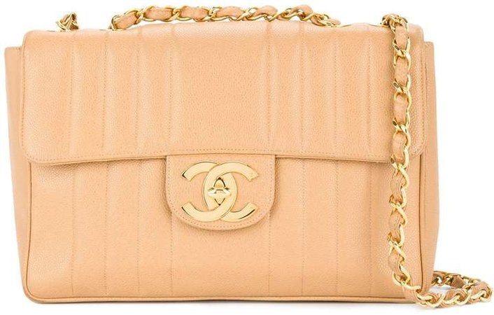 Chanel Pre Owned Jumbo quilted CC double chain shoulder bag