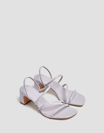 Pull&Bear strappy heeled sandals with square toe in lilac   ASOS