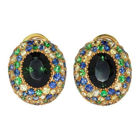 Mousson Atelier Green Tourmaline 5.15 Carat Sapphires Yellow 18 Karat Gold Riviera Earrings