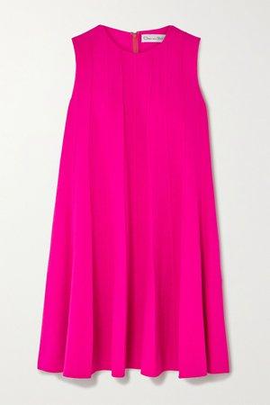 Pink Neon pleated wool-blend crepe mini dress | Oscar de la Renta | NET-A-PORTER