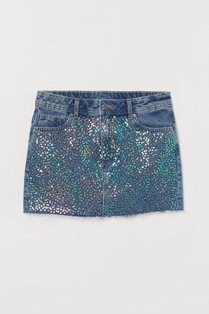 Denim skirt with sequins - Denim blue - Ladies   H&M