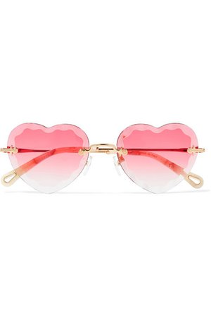 Chloé | Rosie heart-shaped gold-tone sunglasses | NET-A-PORTER.COM