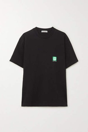 Printed Cotton-jersey T-shirt - Black