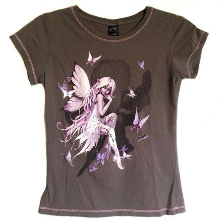 Vinty y2k / 00s Goth Fairy tee top🦇 Grey bod with... - Depop