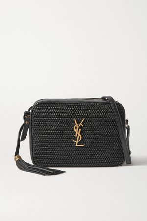 Black Lou leather and raffia shoulder bag | SAINT LAURENT | NET-A-PORTER