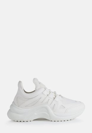 White Curved Sole Sneakers | Missguided
