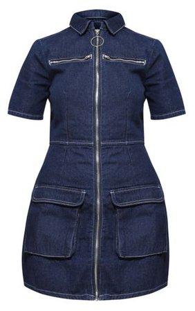 Plus Mid Wash Zip Detail Denim Bodycon Dress | PrettyLittleThing USA