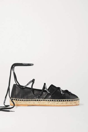 Off White Leather Espadrilles - Black