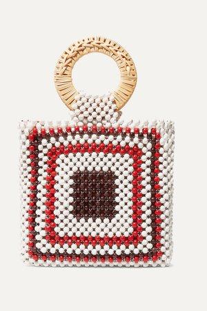 White Keya mini beaded and wicker tote | Ulla Johnson | NET-A-PORTER