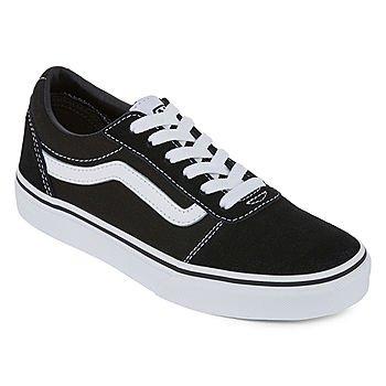 Vans Ward Boys Skate Shoes - Big Kids-JCPenney, Color: Black-white Suede