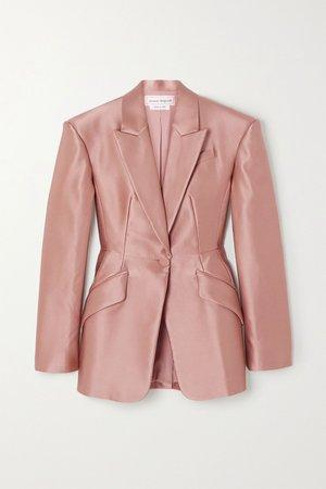 Blush Duchesse silk-satin blazer   Alexander McQueen   NET-A-PORTER