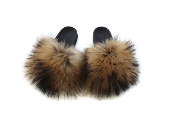 Fur slides Fox Fur Slippers Mother's day gift Handmade | Etsy