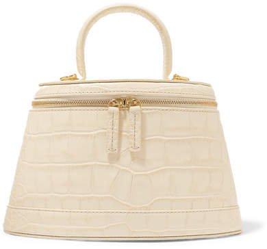 Annie Croc-effect Leather Shoulder Bag - Cream