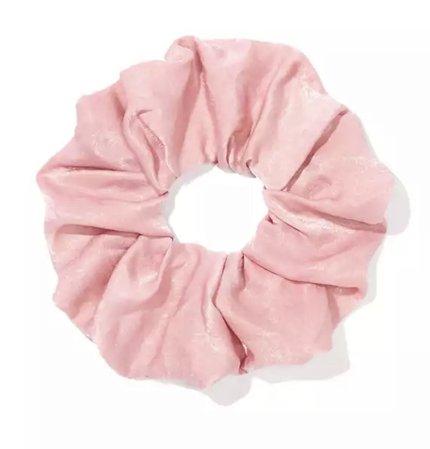 pastel pink satin scrunchie
