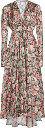 Paco Rabanne Floral-Print Crepe Dress
