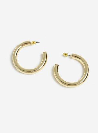 Gold Look Smooth Hoop Earrings   Miss Selfridge
