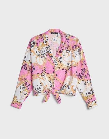 Oversize printed shirt - Shirts and Blouses - Woman | Bershka pink