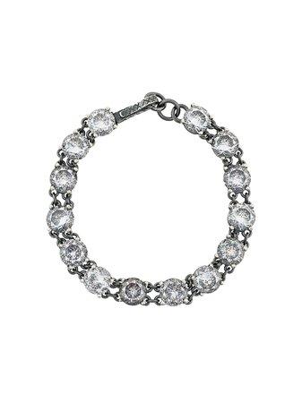 Metallic Bottega Veneta Crystal Embellished Braclet | Farfetch.com