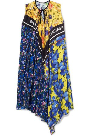 Balenciaga   Pleated printed satin-twill dress   NET-A-PORTER.COM
