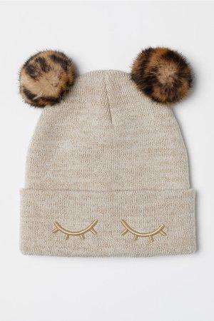 Hat with Pompoms - Beige - Kids | H&M US