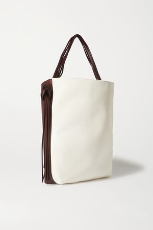 Saturn Oversized Tasseled Leather And Canvas Tote - Brown