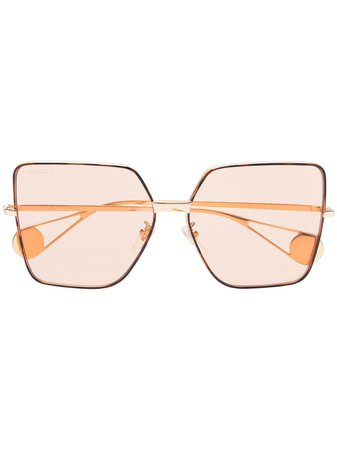 Gucci Eyewear rose gold tinted lens square sunglasses - Buy Online - Large Selection of Luxury Labels