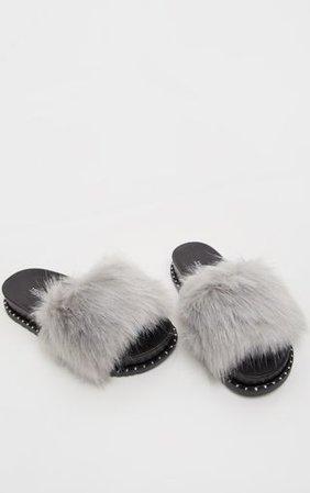 Grey Faux Fur Studded Slider | Shoes | PrettyLittleThing