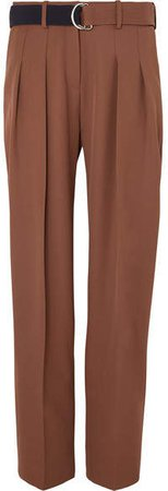 Victoria, Belted Pleated Wool Tapered Pants - Brown