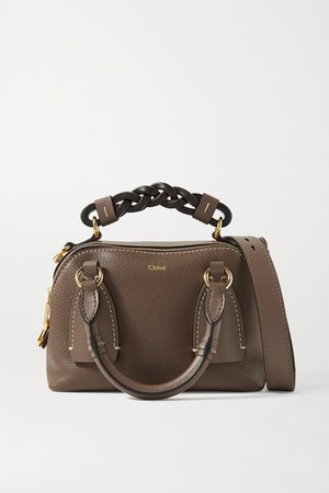 Daria Small Textured And Smooth Leather Tote - Brown