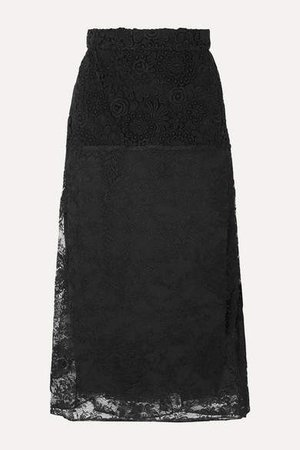 Paneled Lace Midi Skirt - Black