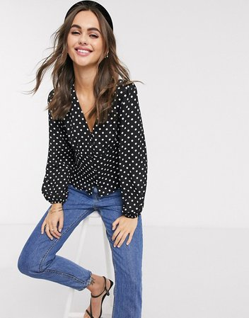 New Look button front blouse in black polka dot | ASOS