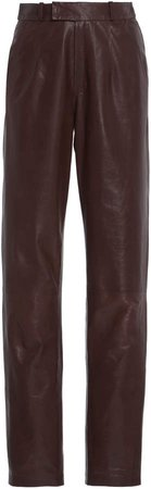 Zeynep Arcay Mom Leather Straight-Leg Pants