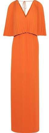 Layered Pleated Crepe De Chine Maxi Dress