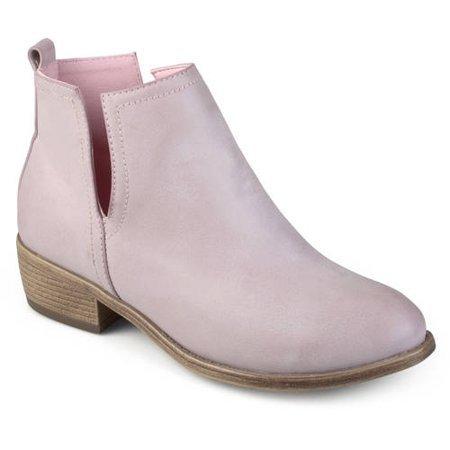Brinley Co. - Womens Side Slit Faux Leather Stacked Heel Booties - Walmart.com - Walmart.com pink