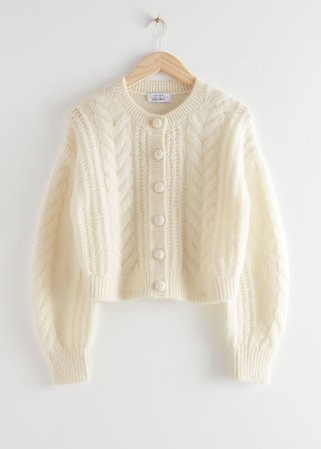 Cropped Button Up Knit Sweater - White - Cardigans - & Other Stories