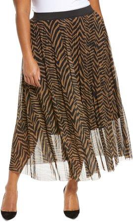 Animal Print Mesh Skirt