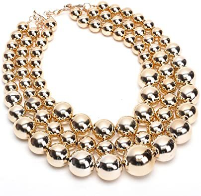 Amazon.com: Fashion Jewelry Multi Strand Simulated Pearl Resin Chain Collar Choker Statement Necklace Costume Jewelry Necklaces for Women&Girls: Jewelry
