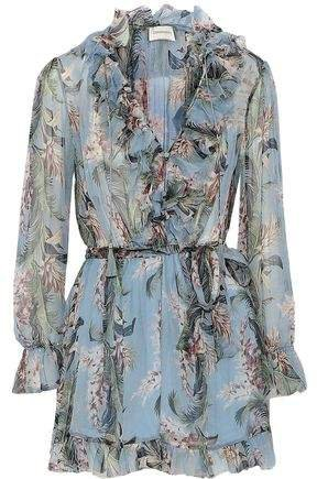 Ruffle-trimmed Floral-print Silk-georgette Playsuit