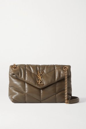 Loulou Puffer Small Quilted Leather Shoulder Bag - Green