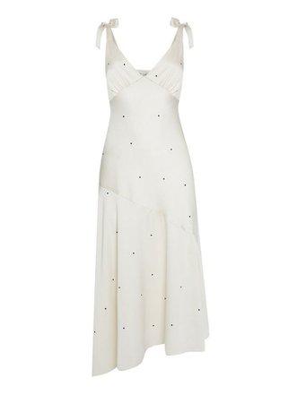 Ivory Spaced Spot Print Satin Midi Dress | Miss Selfridge